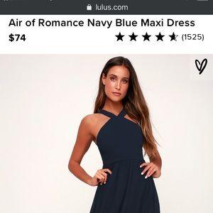 Lulus Air of Romance Blue (navy) full length dress